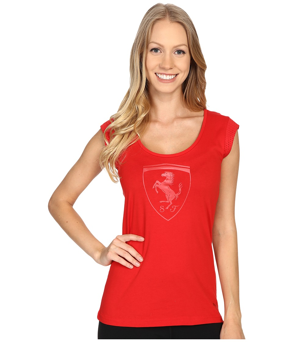 PUMA - Ferrari Big Shield Tee (Rosso Corsa) Women