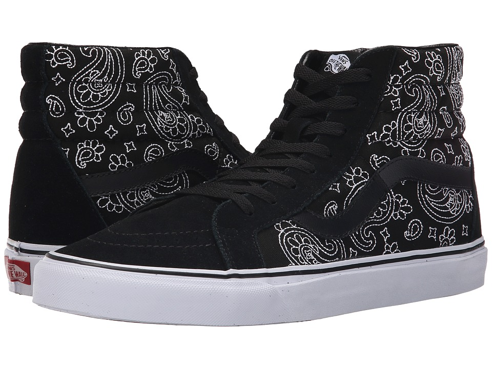 Vans SK8 Hi Reissue Bandana Stitch Black/True White Skate Shoes