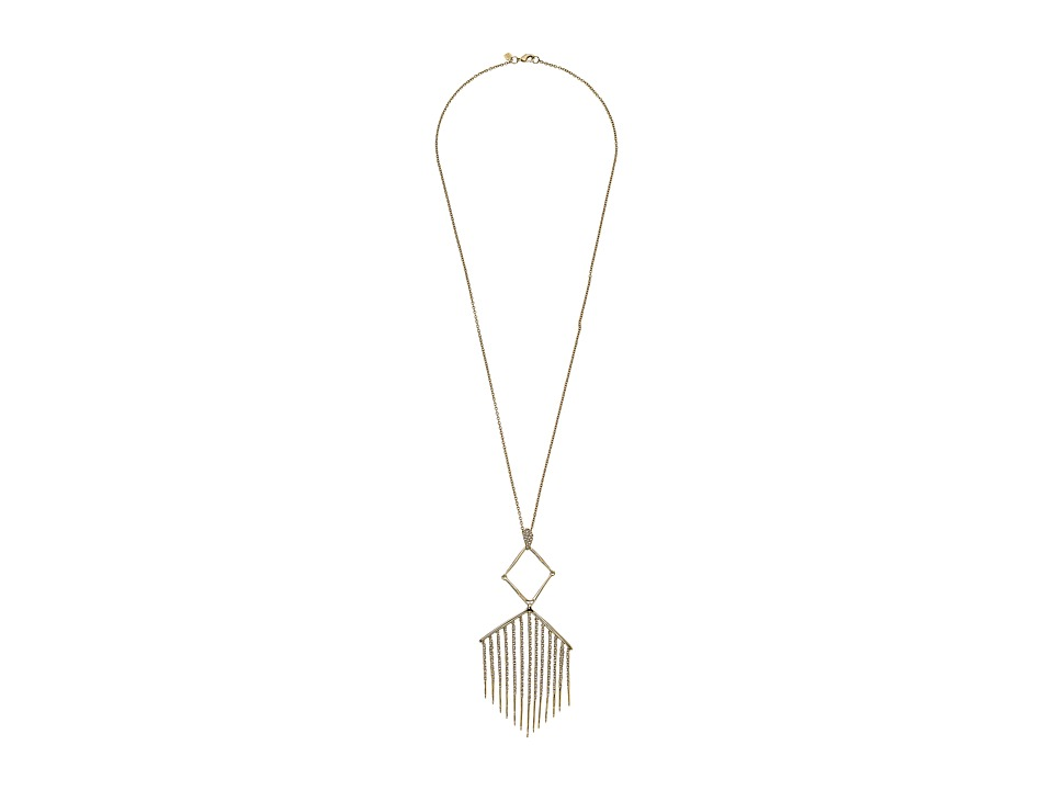 Alexis Bittar Articulating Pendant w/ Encrusted Metal Fringe Necklace 10K Gold Necklace