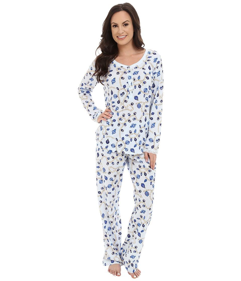 Carole Hochman Key Item Pajama Holiday Pearls/Blue Womens Pajama Sets