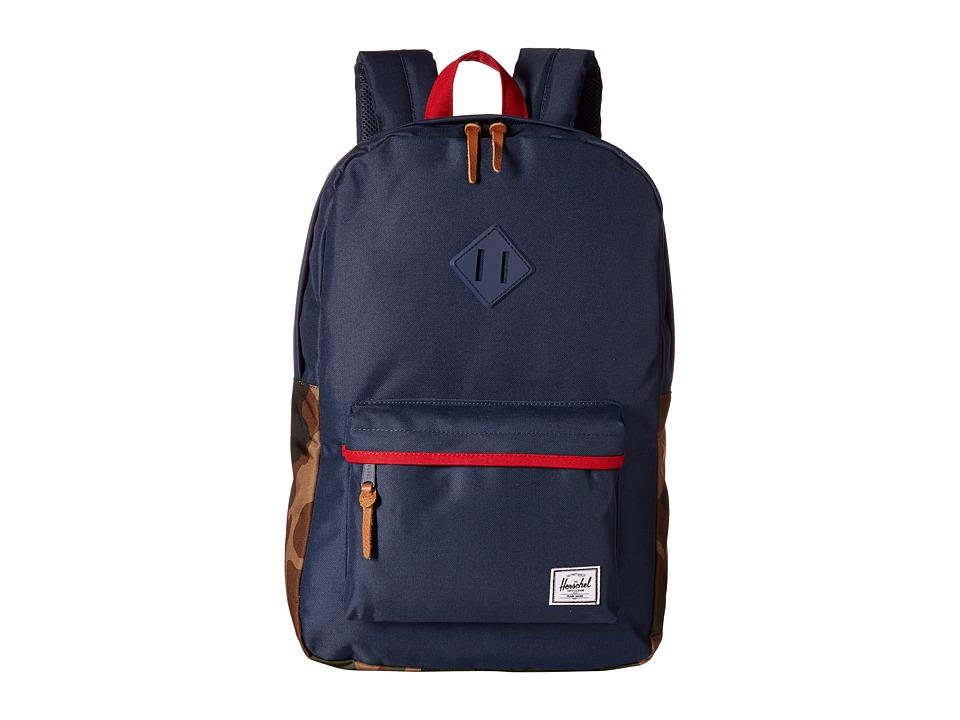 Herschel Supply Co. - Heritage (Navy/Woodland Camo/Red/Navy Rubber) Backpack Bags