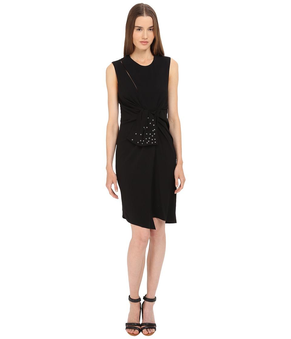 The Kooples Crepe Back Satin Eyelet Dress Black Womens Dress