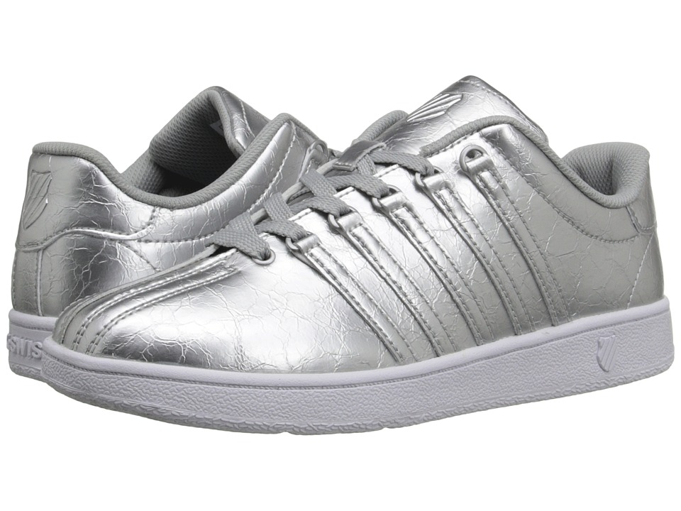 K Swiss Kids Classic VN Big Kid Silver/White Leather Girls Shoes