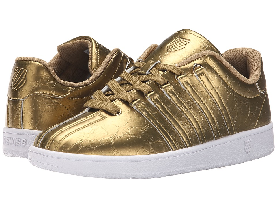K Swiss Kids Classic VN Big Kid Gold/White Leather Girls Shoes