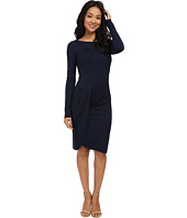 Three Dots - Long Sleeve Pleated Drape Dress