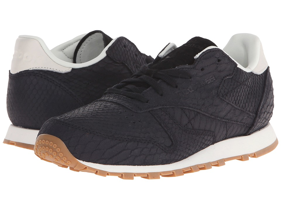 Reebok Lifestyle Classic Leather Clean Exotics Black/Chalk Womens Classic Shoes