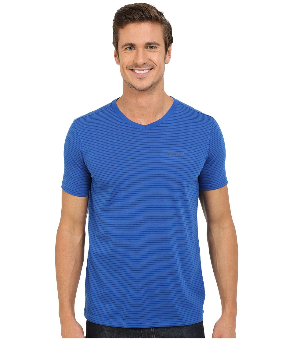 Marmot - Salt Point V-Neck Short Sleeve Tee (True Blue) Men