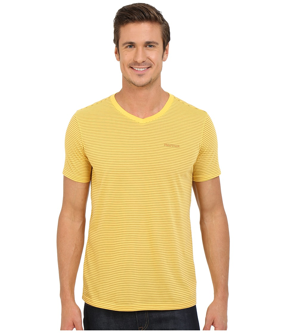 Marmot - Salt Point V-Neck Short Sleeve Tee (Yellow Light) Men