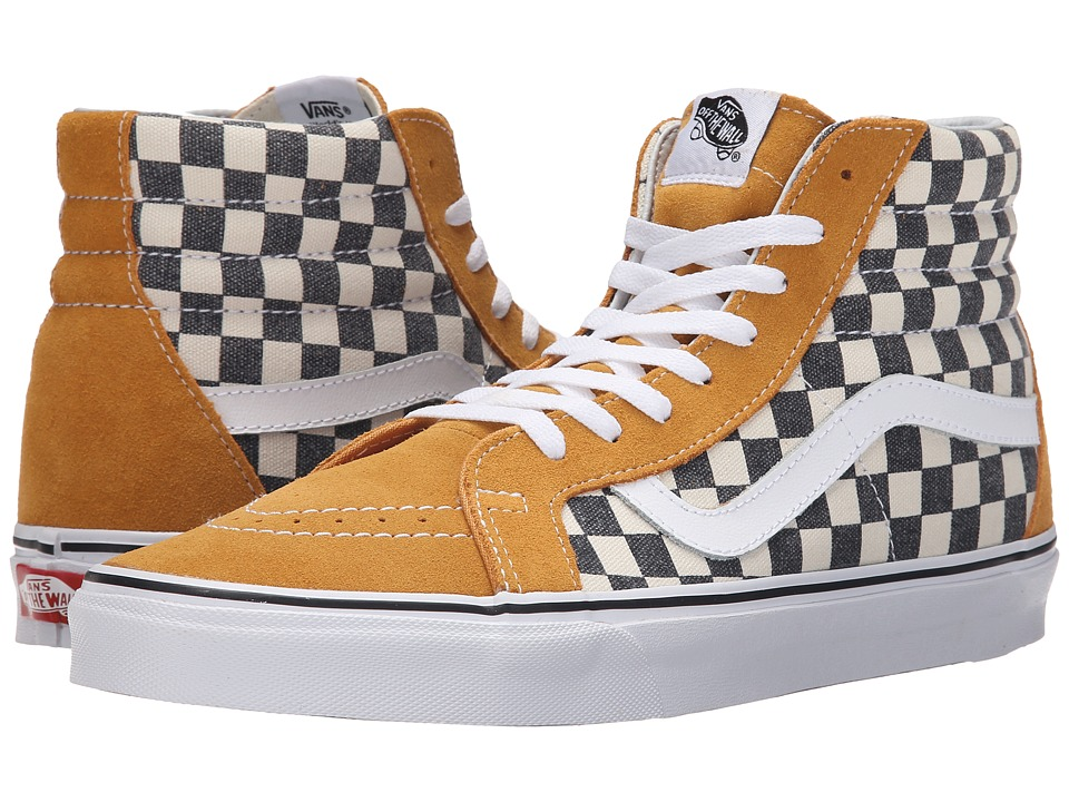 Vans SK8 Hi Reissue Checkerboard Spruce Yellow/Navy Skate Shoes