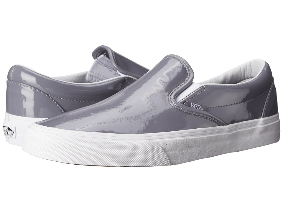 Vans Classic Slip-On ((Tumble Patent) Gray) Skate Shoes