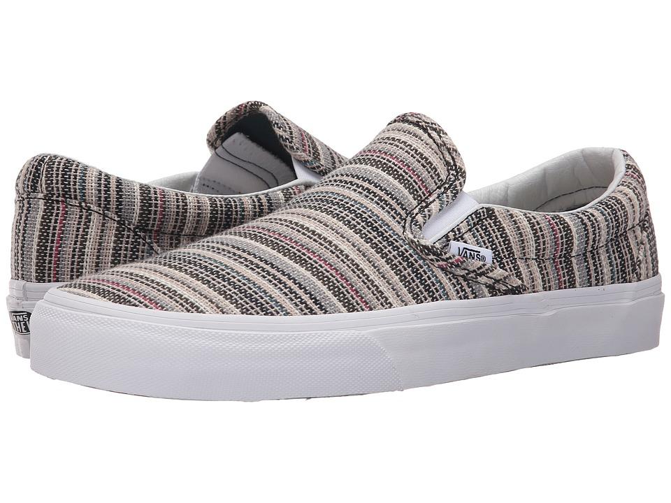 Vans - Classic Slip-On ((Textile Stripes) Balsam/True White) Skate Shoes