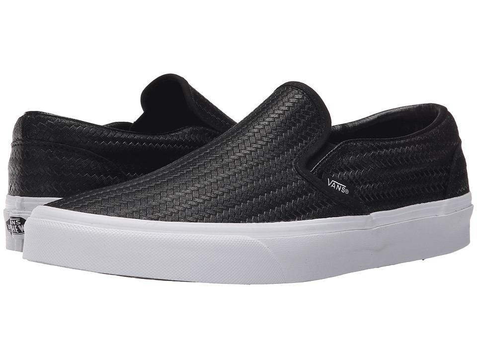 Vans Classic Slip On Embossed Weave Black/True White Skate Shoes