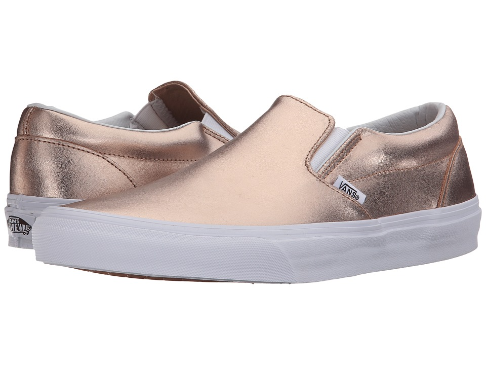 Vans Classic Slip-Ontm ((Metallic Leather) Rose Gold) Skate Shoes