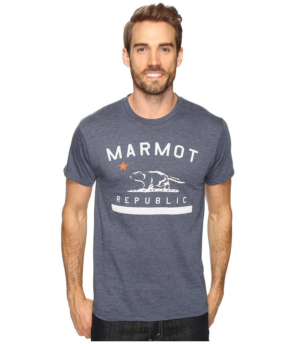 Marmot Marmot Republic Short Sleeve Tee (Navy Heather) Men