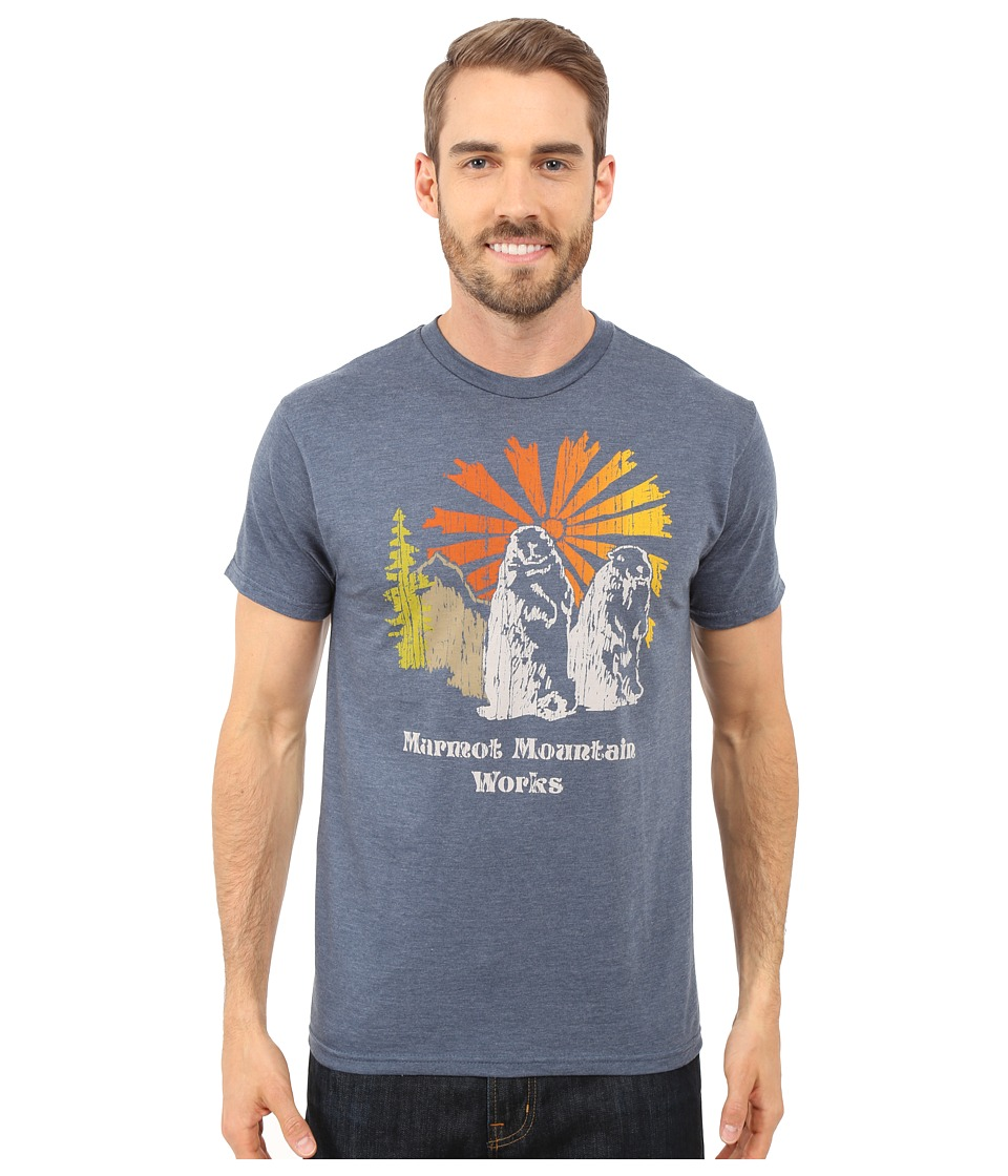 Marmot - Heritage Short Sleeve Tee (Navy Heather) Men