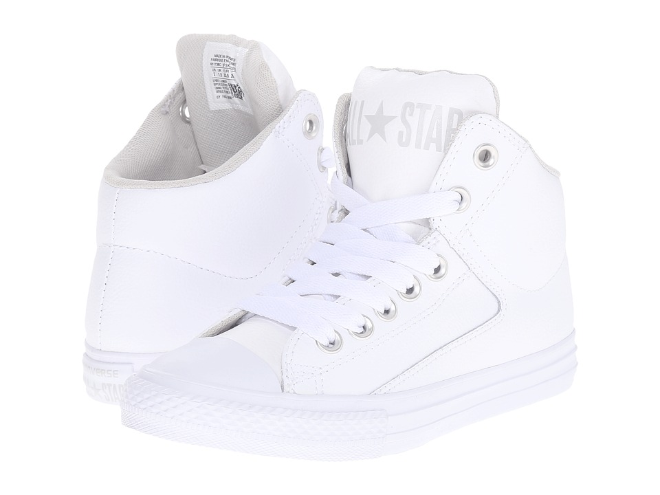 Converse Kids Chuck Taylor All Star High Street Leather Little Kid/Big Kid White/Mouse/White Kids Shoes
