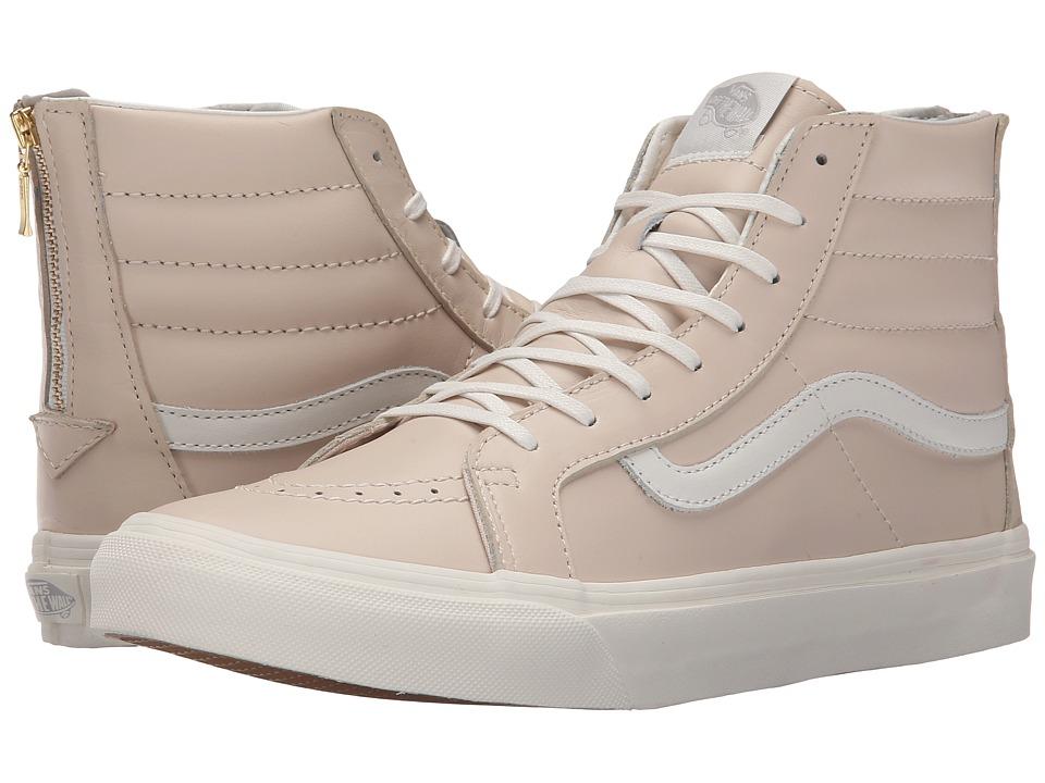 Vans SK8 Hi Slim Zip Leather Whispering Pink/Blanc de Blanc Skate Shoes