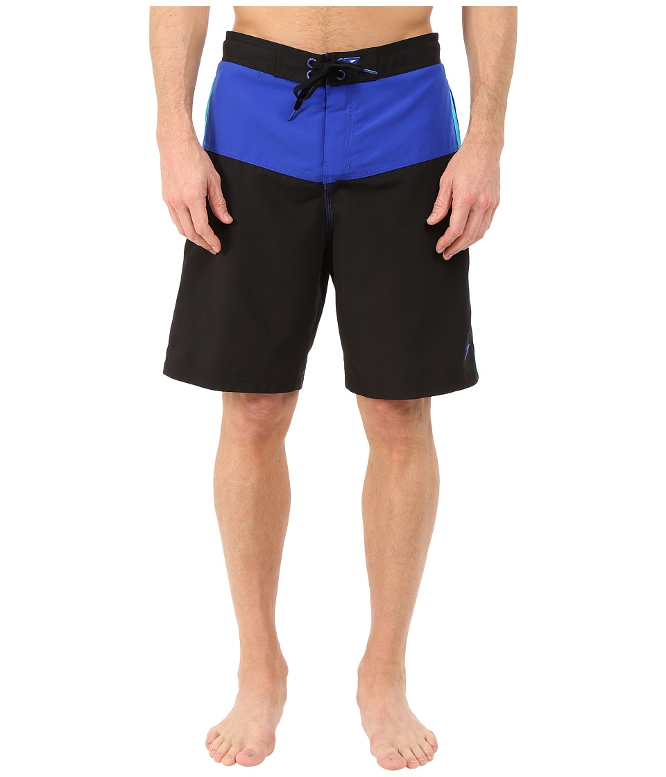 Speedo Long Bay E Board Black/Blue Mens Swimwear