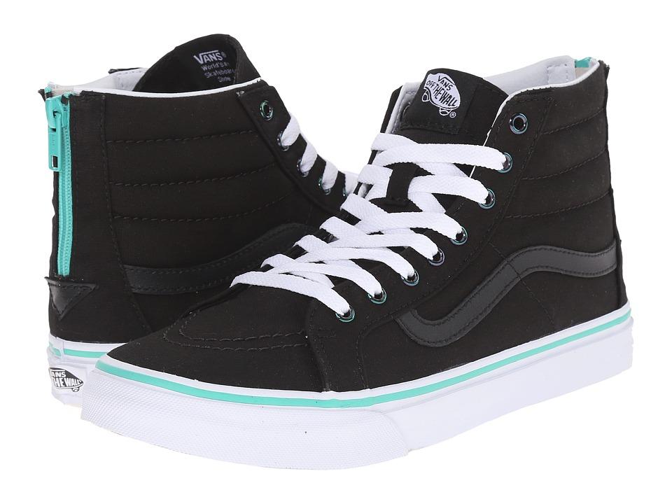 SK8-Hi Slim Zip ((Iridescent Eyelets) Black) Skate Shoes