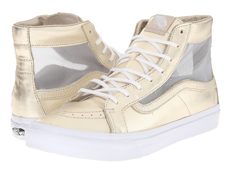 SK8-Hi Slim Cutout ((Mesh Metallic) Wheat Gold/True White) Shoes