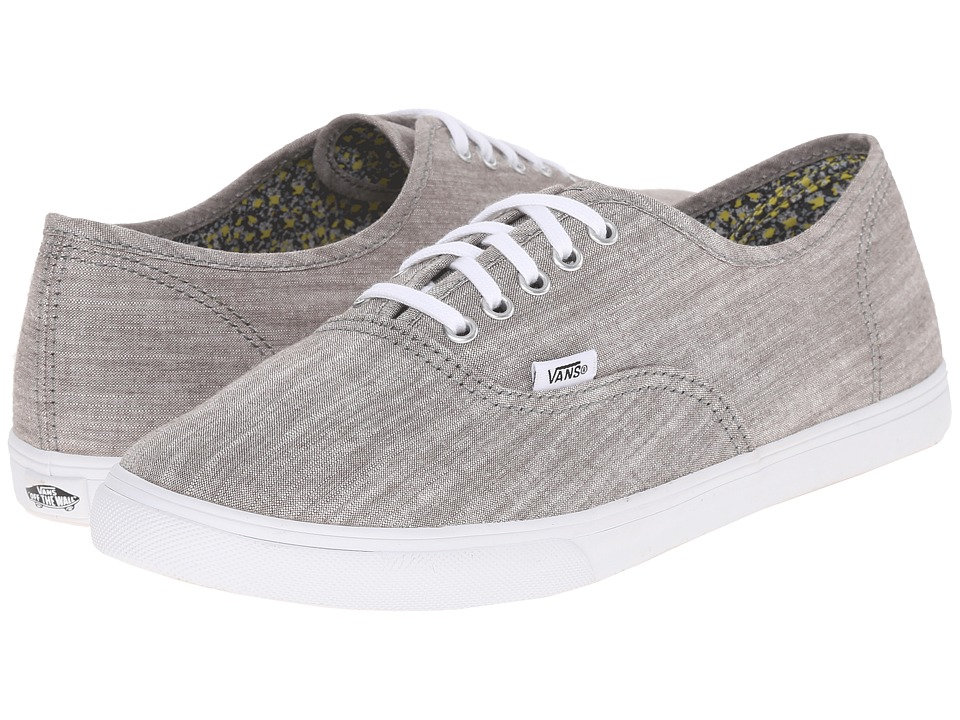 Vans Authentic Lo Pro Floral Chambray Gray/True White Skate Shoes