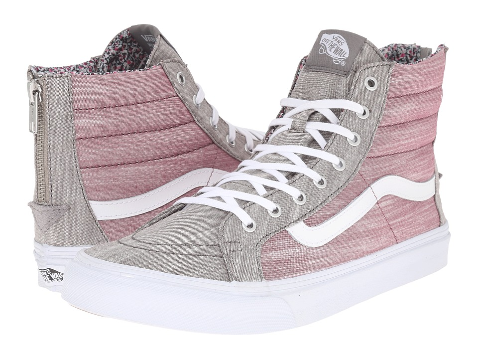 SK8-Hi Slim Zip ((Floral Chambray) Gray/True White) Skate Shoes