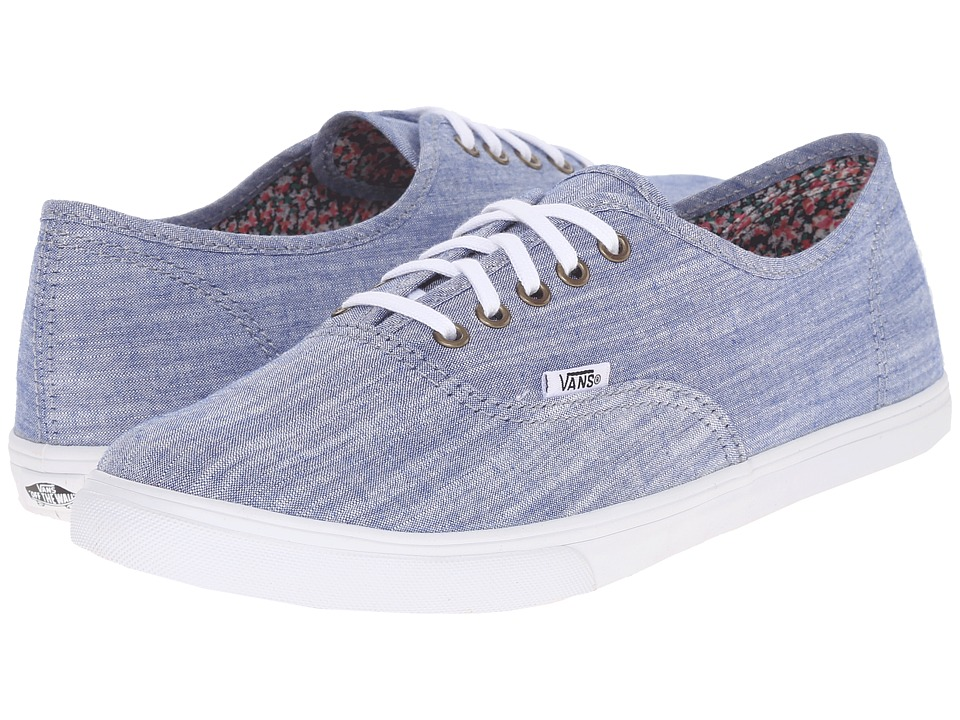 Vans Authentic Lo Pro Floral Chambray Blue/True White Skate Shoes