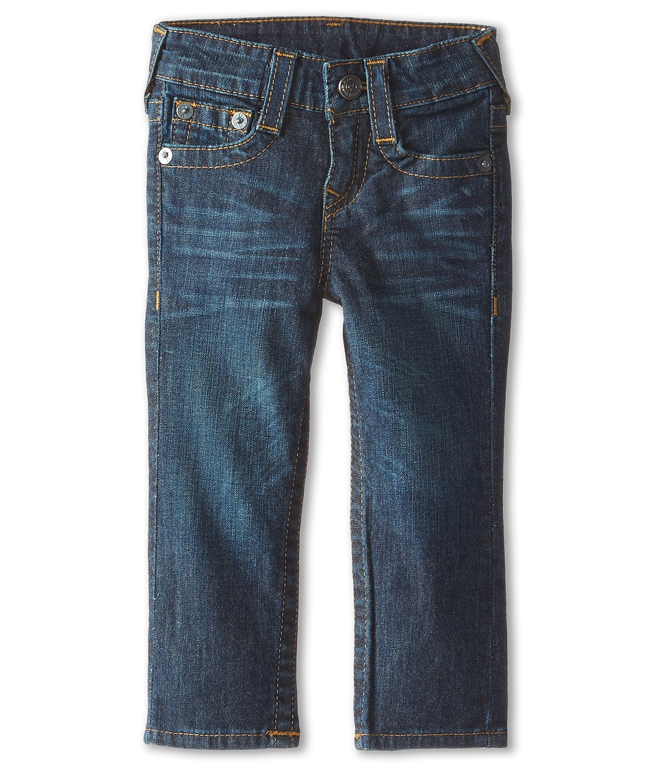 True Religion Kids - Geno Relaxed Slim Fossil Silk Single End Classic Stretch in Dark Indigo