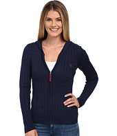U.S. POLO ASSN. - Cable Knit Zip Front Hooded Cardigan