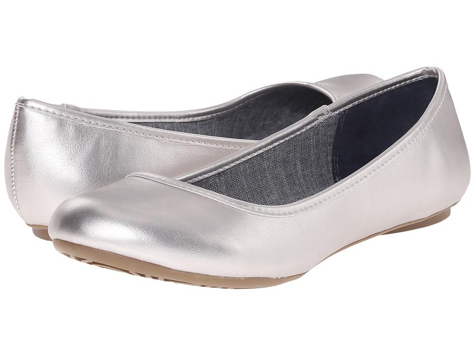 Dr. Scholls Friendly Silver Metallic Womens Flat Shoes