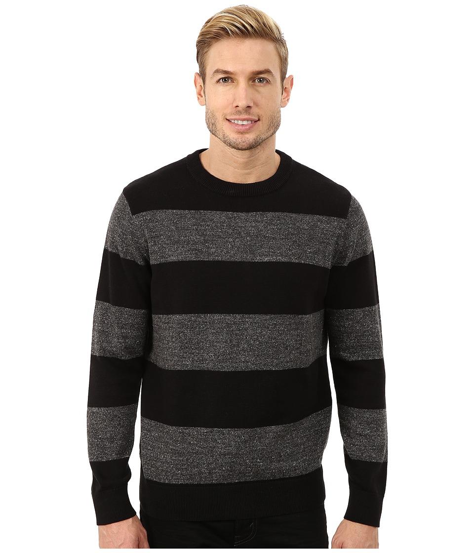 Nautica - 9 Gauge Snow Stripe Crew True Black Mens Sweater $69.50 AT vintagedancer.com
