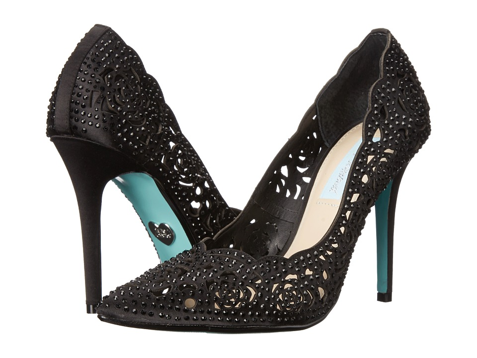 Blue by Betsey Johnson Elsa Black Satin High Heels