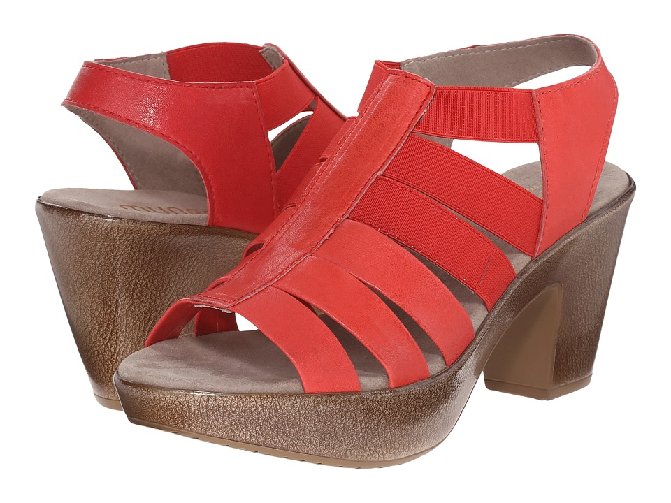 Munro American Cookie Coral Leather/Matching Elastic High Heels