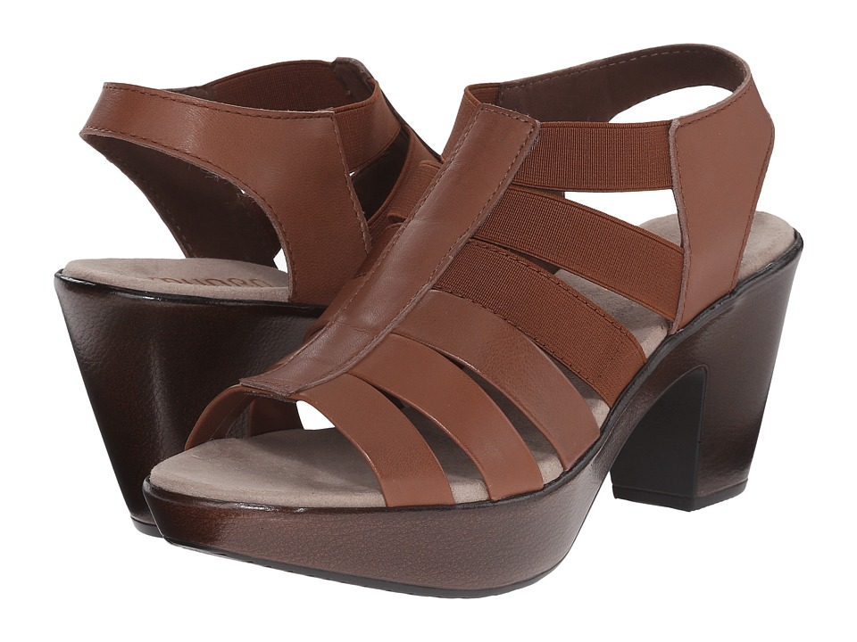 Munro American Cookie Brown Leather/Matching Elastic High Heels