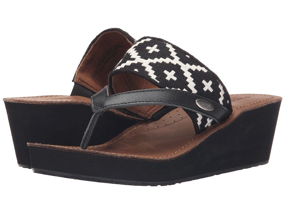 Acorn ArtWalk Leather Wedge (Black/Cream Southwest) Women