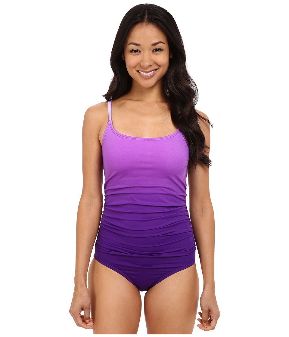 Speedo Ombre Shirred One Piece Royal Purple Womens Swimsuits One Piece