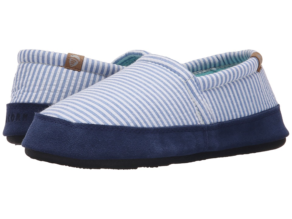 Acorn Acorn Moc Summerweight Blue Stripe Womens Slippers