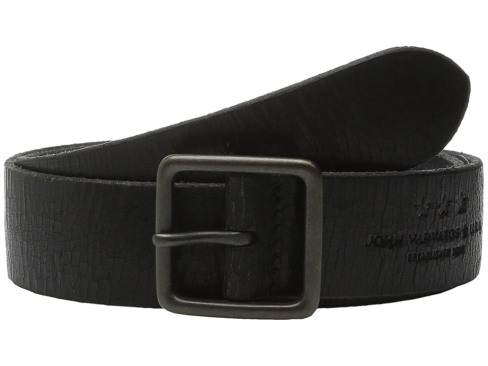 John Varvatos 38mm Burnished Veg Tanned Leather Belt Black Mens Belts