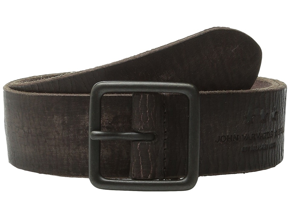 John Varvatos - 38mm Burnished Veg Tanned Leather Belt (Chocolate) Men