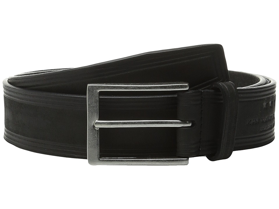John Varvatos 35mm Nubuck Heat Crease Detail Belt Black Mens Belts