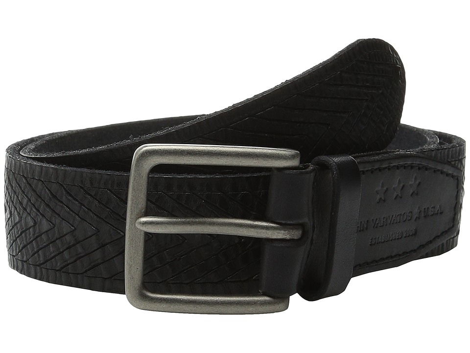 John Varvatos - 38mm Chevron Embossed Leather Belt (Black) Men