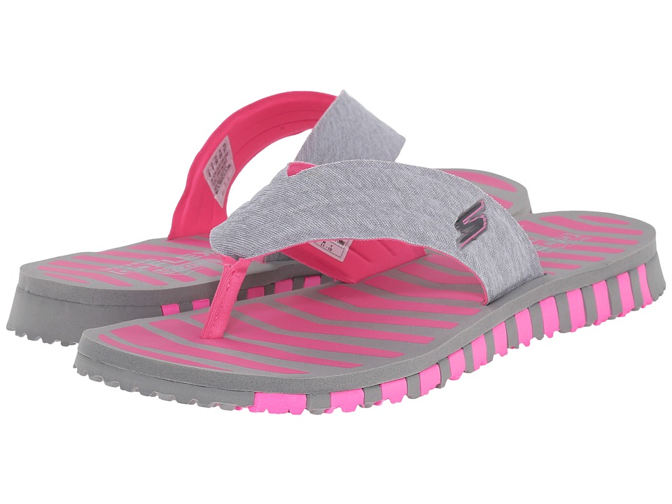SKECHERS Performance Go Flex Vitality Gray/Pink Womens Shoes