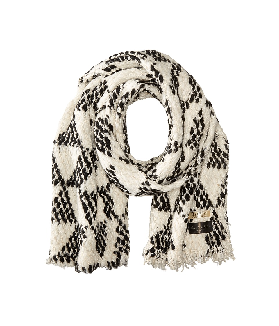 Scotch amp Soda Chunky Patterned Scarf in Boucle Yarn White/Black Scarves