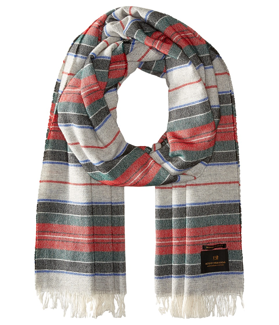 Scotch amp Soda Woolen Striped Scarf Red/Grey Scarves