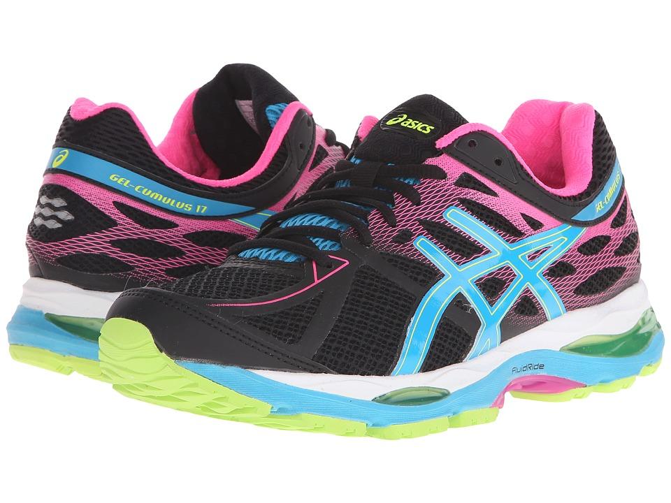 ASICS Gel Cumulus 17 Black/Light Blue/Yellow Womens Running Shoes