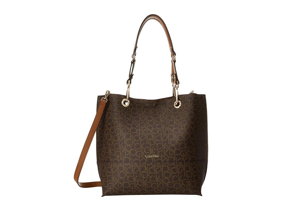 Calvin Klein Logo Tote (Brown/Khaki/Luggage Saffiano) Tot...