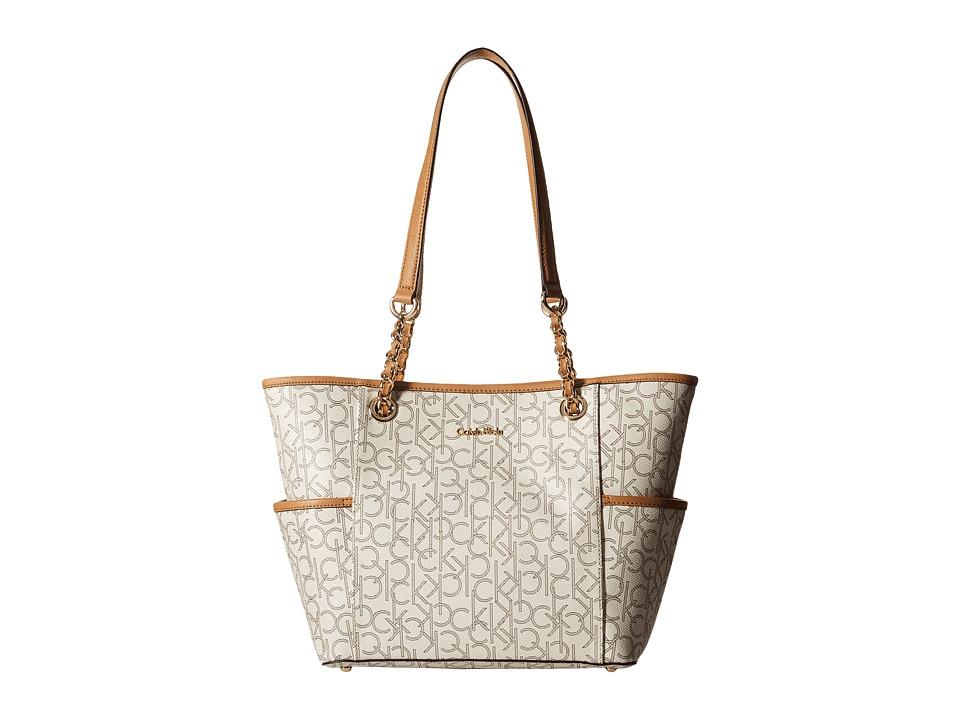 Calvin Klein - Monogram Chain Tote (Almond/Khaki/Cashew Saffiano) Tote Handbags