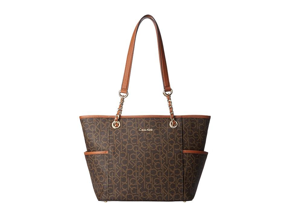 Calvin Klein - Monogram Chain Tote (Brown/Khaki/Luggage Saffiano) Tote Handbags