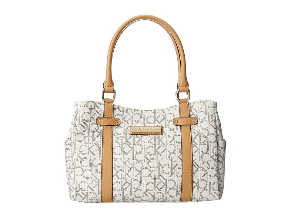 Calvin Klein - Hudson H2ADJ592 (Almond/Khaki/Camel) Satchel Handbags