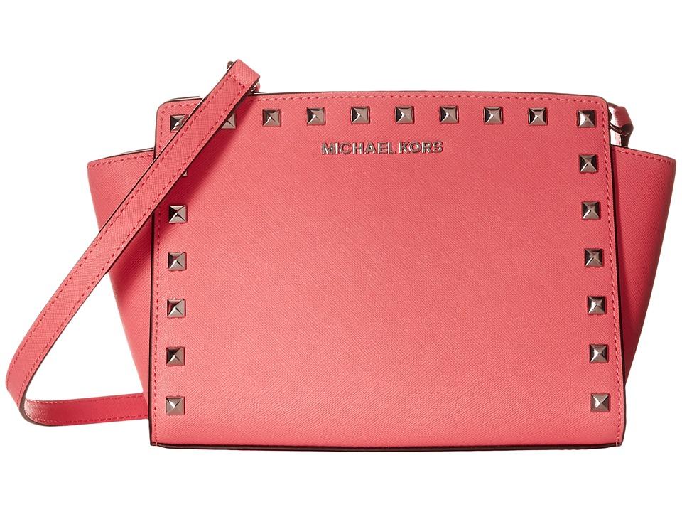 MICHAEL Michael Kors Selma Stud Medium Messenger Coral Cross Body Handbags